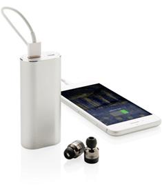 Powerbank med trådlösa öronsnäckor