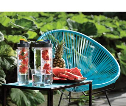 Vattenflaska fruktbehållare